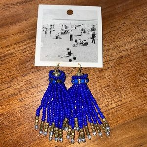 ANTHROPOLOGIE beaded cobalt dangle earring/New